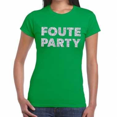Goedkope foute party zilveren glitter tekst t shirt groen dames
