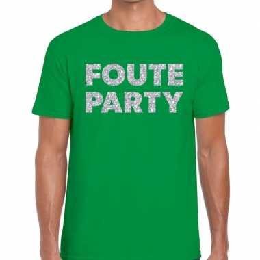 Goedkope foute party zilveren glitter tekst t shirt groen heren