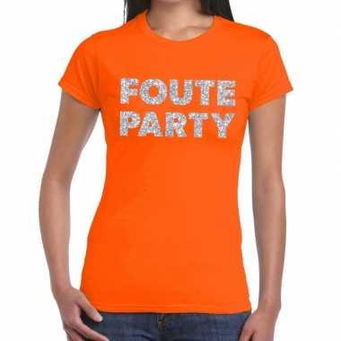 Goedkope foute party zilveren glitter tekst t shirt oranje dames