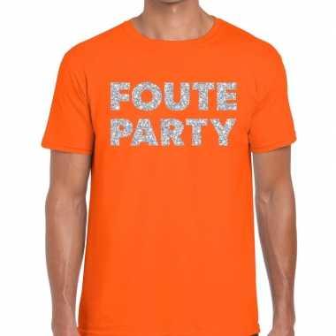 Goedkope foute party zilveren glitter tekst t shirt oranje heren
