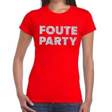 Goedkope foute party zilveren glitter tekst t shirt rood dames