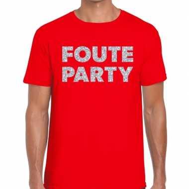 Goedkope foute party zilveren glitter tekst t shirt rood heren
