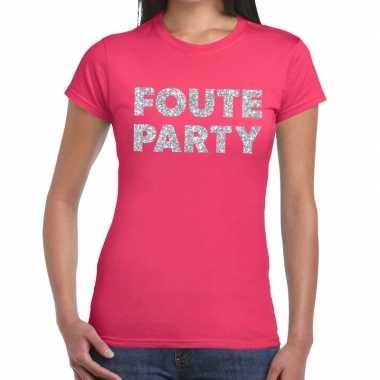 Goedkope foute party zilveren glitter tekst t shirt roze dames