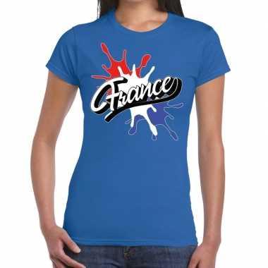 Goedkope france/frankrijk t shirt spetter blauw dames
