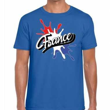 Goedkope france/frankrijk t shirt spetter blauw heren