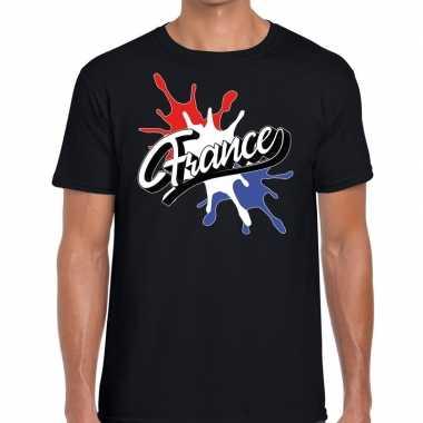 Goedkope france/frankrijk t shirt spetter zwart heren