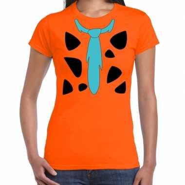Goedkope fred holbewoner kostuum t shirt oranje dames