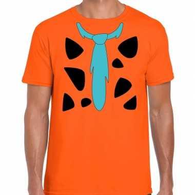 Goedkope fred holbewoner kostuum t shirt oranje heren