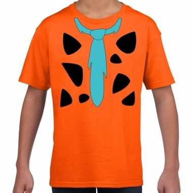 Goedkope fred holbewoner kostuum t shirt oranje kinderen