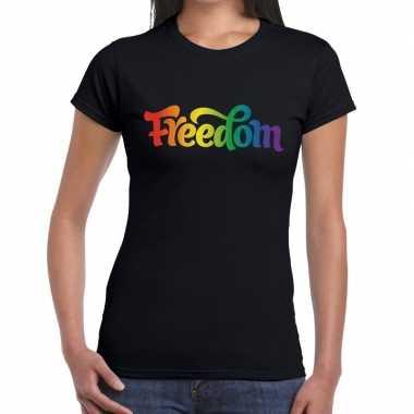 Goedkope freedom gaypride shirt zwart dames