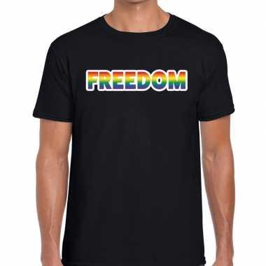 Goedkope freedom regenboog gaypride shirt zwart heren