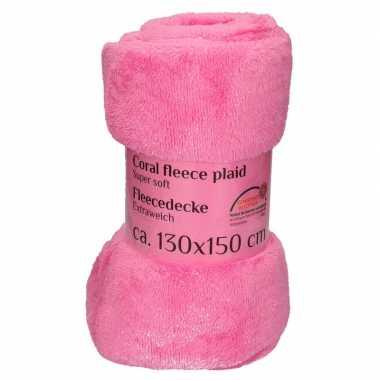 Goedkope fuchsia roze fleece deken