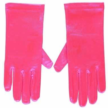 Goedkope fuchsia roze gala handschoenen kort satijn