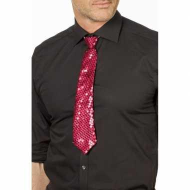 Goedkope fuchsia roze glitter stropdas verkleedaccessoire dames/her
