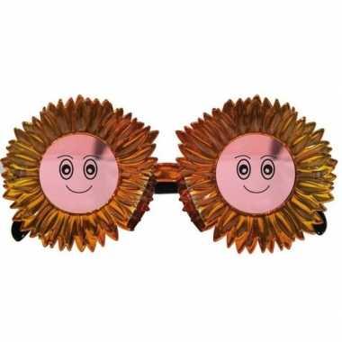 Goedkope funbril zonnebloemen goud volwassenen