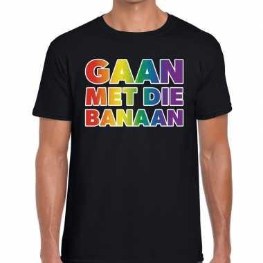 Goedkope gaan die banaan gaypride shirt zwart heren
