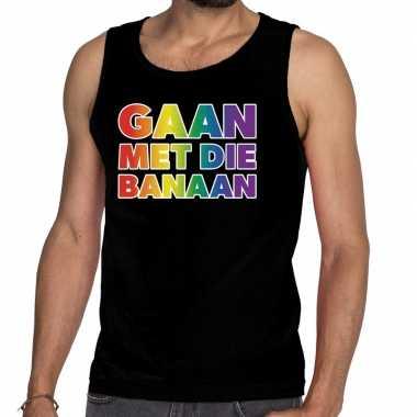 Goedkope gaan die banaan gaypride tanktop zwart heren