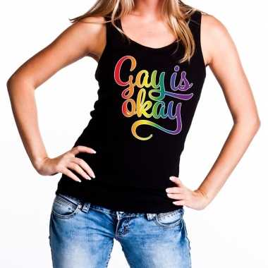 Goedkope gay is okay gaypride tanktop zwart dames