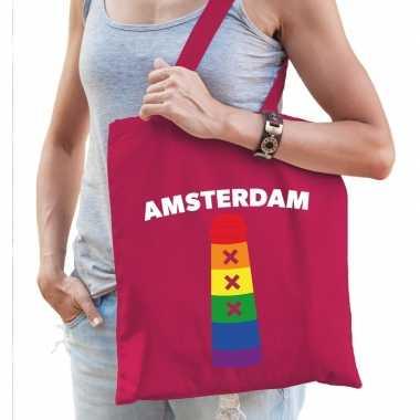 Goedkope gay pride amsterdamse paal regenboog katoenen tas roze