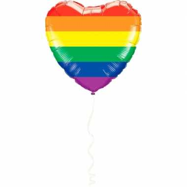 Goedkope gay pride hart folie ballon regenboog kleuren