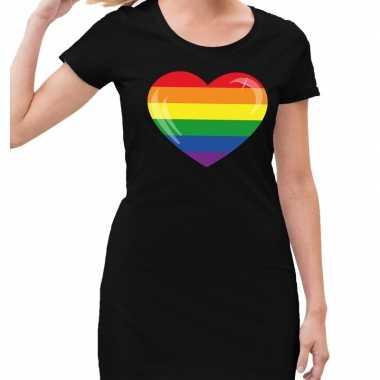 Goedkope gay pride regenboog hart jurkje zwart dames