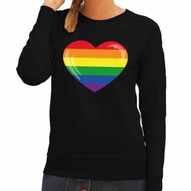 Goedkope gay pride regenboog hart sweater zwart dames