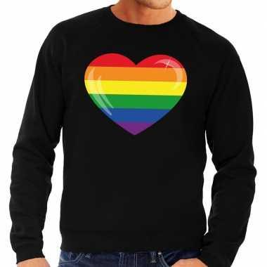 Goedkope gay pride regenboog hart sweater zwart heren