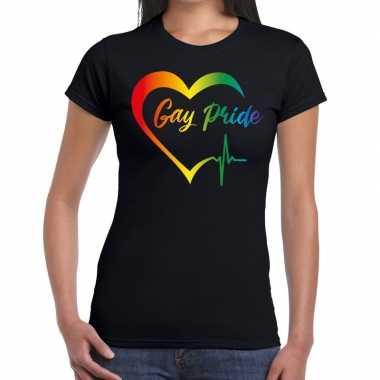 Goedkope gay pride regenboog hart t shirt zwart dames