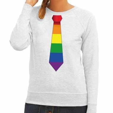 Goedkope gay pride regenboog stropdas sweater grijs dames