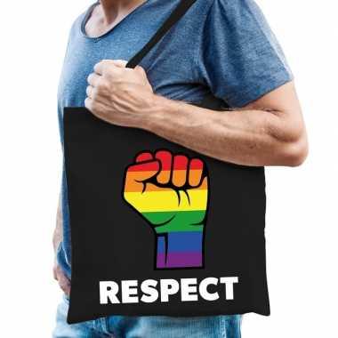 Goedkope gay pride respect katoenen tas zwart
