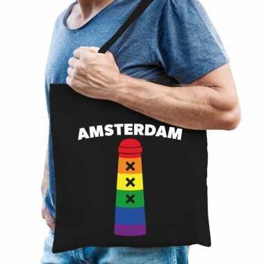Goedkope gaypride amsterdammertje regenboog katoenen tas zwart