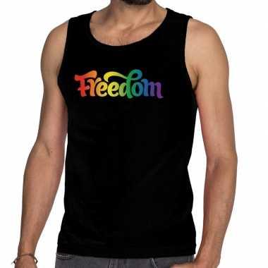 Goedkope gaypride freedom tanktop/mouwloos shirt zwart heren