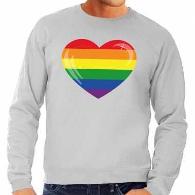 Goedkope gaypride regenboog hart sweater grijs heren