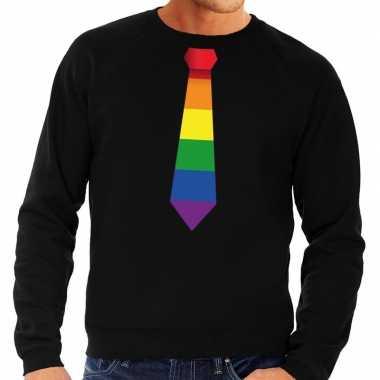 Goedkope gaypride regenboog stropdas sweater zwart heren