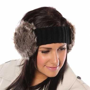 Goedkope gebreide hoofdband zachte nepbont oorwarmers dames