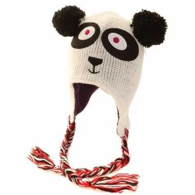 Goedkope gebreide panda muts peruaans dames