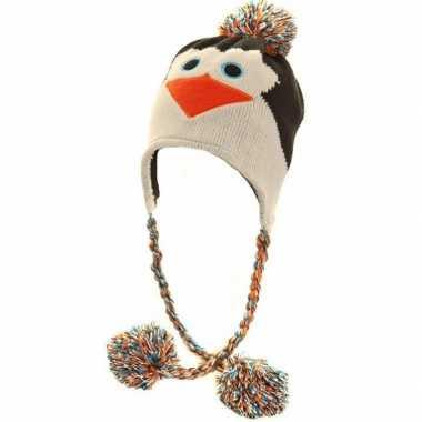 Goedkope gebreide pinguin muts peruaans dames