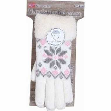 Goedkope gebreide winter handschoenen creme wit pluche dames