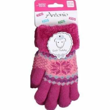 Goedkope gebreide winter handschoenen fuchsia roze fuchsia roze pluch