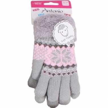 Goedkope gebreide winter handschoenen grijs grijs pluche meisjes