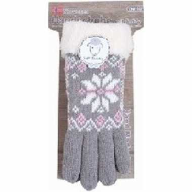 Goedkope gebreide winter handschoenen grijs pluche dames