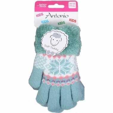 Goedkope gebreide winter handschoenen mint groen mint groen pluche vo