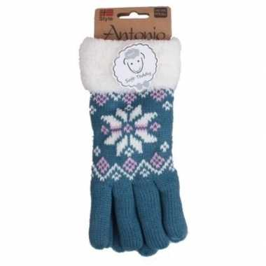 Goedkope gebreide winter handschoenen nordic ster blauw dames