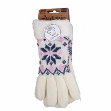 Goedkope gebreide winter handschoenen nordic ster wit dames