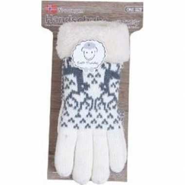 Goedkope gebreide winter handschoenen rendier/creme pluche dames