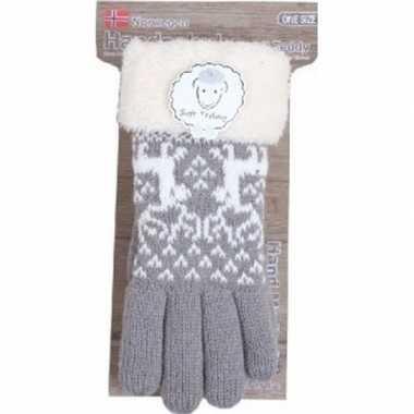Goedkope gebreide winter handschoenen rendier/grijs pluche dames