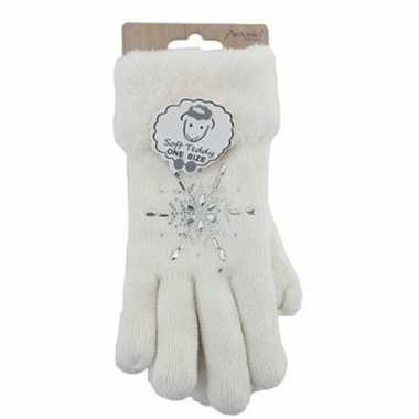 Goedkope gebreide winter handschoenen strass ster wit dames