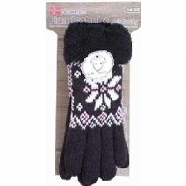 Goedkope gebreide winter handschoenen zwart pluche dames