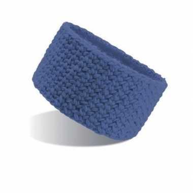 Goedkope gebreide winter hoofdband blauw dames