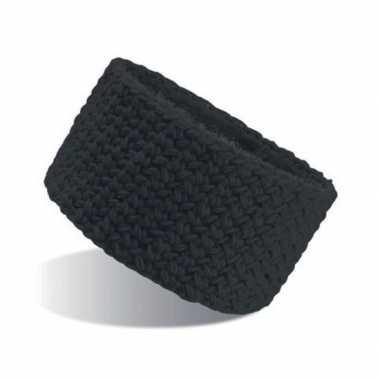 Goedkope gebreide winter hoofdband zwart dames